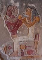 Yellow painted mirror, el-Kab, Tomb 7