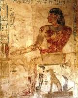 Figure 10. Pabasa with pet dog Hekenu. Twenty Fifth Dynasty Asasif. Photograph by P. Gorgori