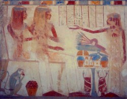 Figure 20. Monkey under chair of daughters of deceased. Tomb of Userhat. 18th Dynasty. Photograph courtesy of Osirisnet