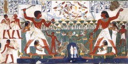 Figure 24. Nakht and wife fishing and fowling in the Marshes. Eighteenth Dynasty. Photograph courtesy of Osirisnet