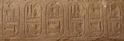 """Figure 11. Chiseling off the name would eliminate a person's existence for all eternity. Here only the """"Set"""" part of Seti's name has been defaced, to oppose the god Seth during a period in which he was in disfavor. All the birth-name cartouches are defaced, but the throne names are left untouched."""