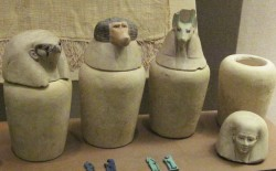 Figure 12. Canopic jars held the liver, intestines, lungs and stomach, each protected by a tutelary goddess.