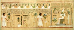 Figure 17. Judgment in the Hall of Double Justice: the deceased addresses the Negative Confession to the 42 judges and Anubis weighs the heart against a feather, Maat, to verify the truth of the confession while Ammit, the Devourer, crouches and drools, waiting to eat the soul of anyone found unworthy. Thoth records the positive verdict and Horus leads the Justified to the throne of Osiris, who welcomes him into Eternity. Before Osiris are the Four Sons of Horus; behind, Isis and Nephthys.