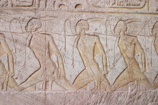 Prisoners brought before the Pharaoh. Photograph by Andrea Byrnes