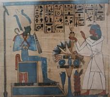 The god Osiris receiving offerings from Padiamenet