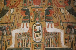 Colourful paintwork on mummy coffin. Photograph by Andrea Byrnes