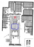 Plan A Floor plan Ramesseum ( James Quibell 19th century) The red outline marks the location of the inner sanctuary while the blue outline marks the Hypostyle hall.