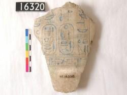 "Fragment of alabaster canopic jar reading ""Osorkon II beloved of Djehuti"""