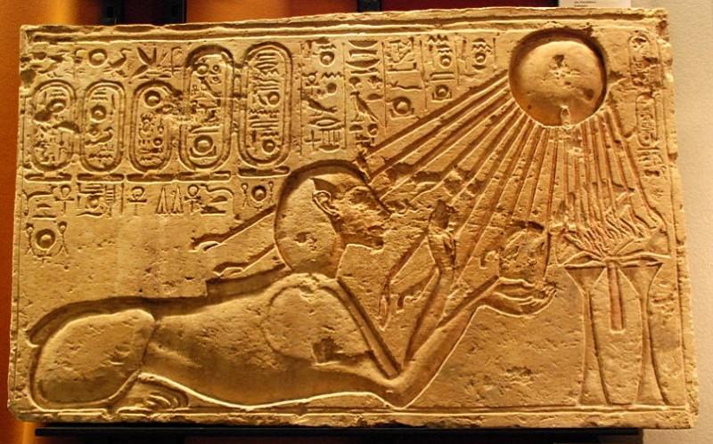Figure 13. Akhenaten, shown as a sphinx, basks in the rays of the Aten